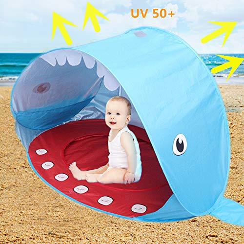 Sweeho tenda spiaggia bambini, anti solar uv 50+ tenda per neonati, pop-up tenda a sdraio con piscina per baby tenda portatile pieghevole per bambino luce blue whale style per vacanza al mare bp158