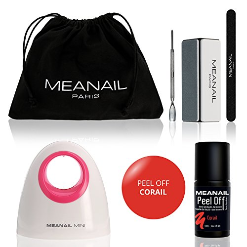 MEANAIL® Mini • Set de Manicura Portatil • Esmalte permanente para uñas • Secador de Uñas en Manicuras de Shellac • Kit Uñas de Gel UV LED • Laca semipermanente Color Coral Peel Off • No necesita Top Coat Base Coat • Ideal Manicura y Pedicura