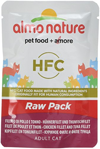 Almo Nature HFC Raw Pack Cat with Chicken and Tuna Fillets  (Pack of 24 x55g)