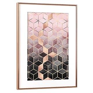 artboxONE Poster mit Rahmen Kupfer 30x20 cm Pink Grey Gradient Cubes von Elisabeth Frederiksson - gerahmtes Poster