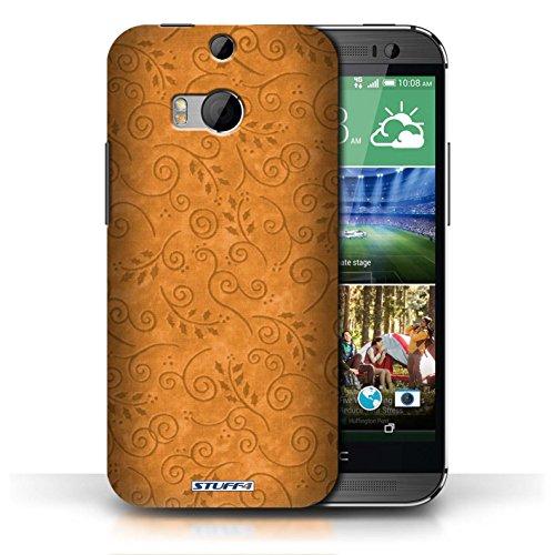 Kobalt® Imprimé Etui / Coque pour HTC One/1 M8 / Bleu conception / Série Motif Feuille Remous Orange