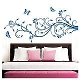 Grandora Wandtattoo XXL Blumenranken Schmetterlinge Blumen I azurblau (BxH) 90 x 39 cm I Schlafzimmer Liebe Flur Wohnzimmer modern Aufkleber Wandaufkleber W1073