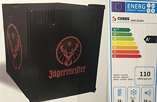 Husky HUS-CC 204 Coolcube Cool Cube Flaschenkühlschrank Jägermeister / A / 51 cm Höhe / 110 kWh/Jahr / 32 L Kühlteil + 5L Gefrierfach inkl. Reinigungstuch