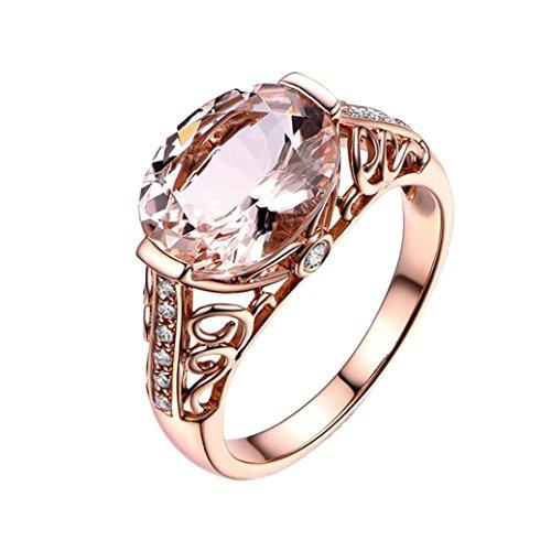 (Ausverkauf. Mingfa Frauen Mädchen 2018Fashion Rose Gold Hochzeit Verlobungsring Braut Ringe Edelstein Band Ringe Statement Schmuck, Legierung, Rose Gold, 6)