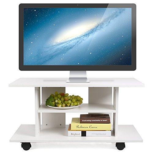 HOMFA Mueble tv móvil Mueble de comedor tv moderno mesa para tv con 4 ruedas 80*40*40cm (Blanco)