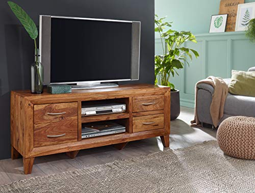 Ks-furniture - mobile basso mumbai in legno massiccio sheesham, 135 cm, 4 cassetti, 2 scomparti, pezzo unico