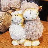 Kamaca Schaf Pärchen mit Wuschelfell aus Ton Keramik Schäfchen Paar mit Wollfell Dekofigur
