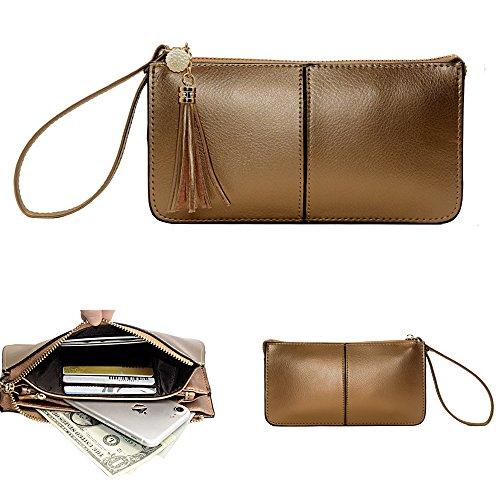 Befen Weiche Leder Armband Phone Wristlet Brieftasche Clutch mit Handschlaufe / Card Slots / Cash Tasche - Fit iPhone 6S Plus / Samsung Note 5 - Bronze