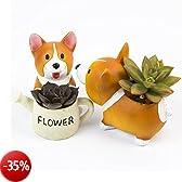 SUN-E bella Corgi cane pianta a forma di decorazione succulente piante decorative Flower Pot 2 In Set