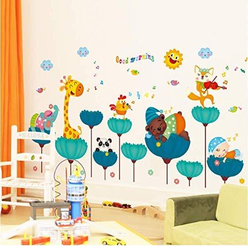 GCHHJYA Animales creativos pegatinas de pared para habitaciones de niños decoración del dormitorio del bebé DIY dibujos animados jirafa Zorro OSO calcomanías murales 131 * 71 cm (Puerta Para Bebe)
