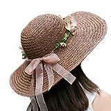 Sombreros LINGZHIGAN Señora Paja Visor Summer Moisture Protector de Sol Playa Sun Hat Tide (Color : Dark Coffee)