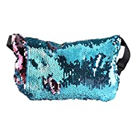 OULII Sports de plein air Bag taille sac Casual couleur Double Sequin Noël cadeau (bleu + rose)