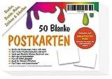 50 Blanko Postkarten beidseitig weiss A6 - ohne Linien / Briefmarkenfeld - ALLES selbst gestalten bemalen beschreiben - totale kreative Freiheit