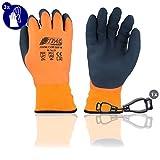 Nitras Soft Grip 3560W 3 Paia Taglia XL Guanti invernali Guanto di lavoro caldo Guanto di montaggio Guanto di giardinaggio con accessori Porta-Guanti Clip
