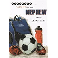 "Nephew Birthday Card - Big Football, Backpack, Red Bottle & Black Boots 9"" x 6"""