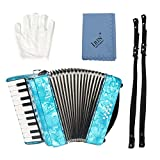 SolUptanisu Pianoforte a Fisarmonica a 22 Tasti con 8 Tasti e Guanti per Principianti e Studenti, Blue