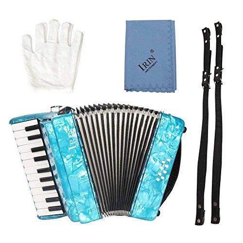 Pianoakkordeons 22-Tasten 8 Bass Keyboard Akkordeon Ensemble Ausführendes Instrument Ahornholz Pädagogisches Musikinstrument Spielzeug mit Riemen Handschuhe für Kinder Anfänger Studenten Amateur(Blau)
