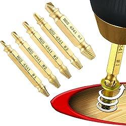 DingLong 5PC Titanium Plated Screw Removal Device Schraube Extractor Kobalt, Schraubenauszieher, Bohrer Gebrochener Beschädigter Bolzenentferner Entfernt alle Schrauben oder Gezackten