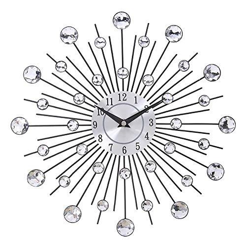 ZUEN Vintage Metallic Crystal Sunburst Wanduhr Diamant Große Moderne Wand Schmiedeeisen Wanduhr Uhr Design Home Decor (Vintage Sunburst Spiegel)