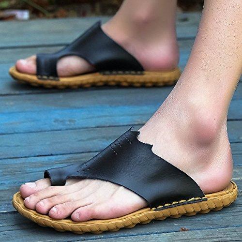 LXXAMens Estate Spiaggia Peso Leggero Flip Flops Vera Pelle Maschio Pantofola Sandali Infradito Black