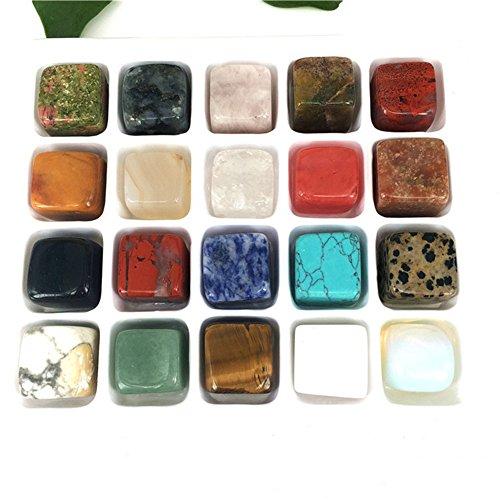AITELEI Aiteli - Juego de 20 piedras de cristal pulidas naturales para Wicca, Reiki y Energy Crystal Healing Education, 100% piedras preciosas naturales