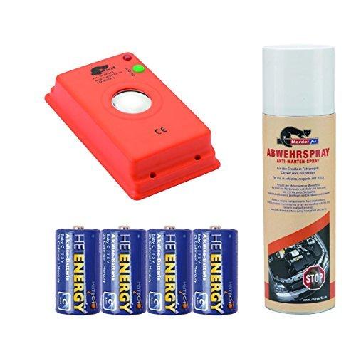 Preisvergleich Produktbild MARDERfix - Akustik Batterie inklusive Abwehrspray und Batterien - Marderabwehr im Auto, Haus und Hof