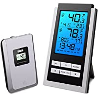 Oria Wireless Weather Station, Indoor/ Outdoor Temperature Monitor, LCD Digital Thermometer with Min/Max Temperature Daily Record, Remote Sensor and Blue Backlight, Display Comprehensive Information