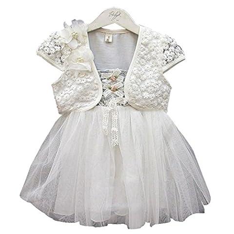 Filles Robe Sans manches Pleine fleur de dentelle Princesse Robes 0-6 ans (4-5 ans, blanc)