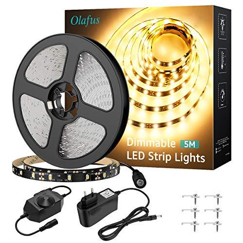 Olafus 5M LED Strip Dimmbar, 300 LEDs Streifen 3000K Warmweiß LED Band, Selbstklebend 2835 LED Lichtband mit 12V Netzteil, LED Lichtstreifen Ihnenbeleuchtung für Küche Schrank Weihnachten Party Deko