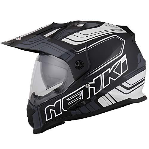 NENKI NK-313 Motorrad Enduro Cross Helm Herren mit Visier und Sonnenblende für Quad ATV Adventure,ECE-geprüft (Schwarz Weiß Matt, L)