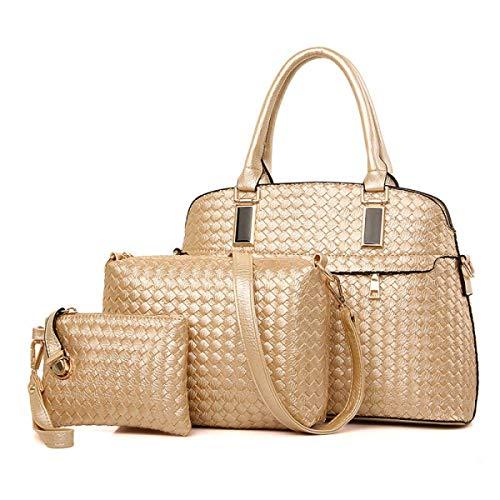 Willsego dreiteilige Mutter und Sohn Paket Europa und die Vereinigten Staaten Mode Stricken Muster Handtaschen (Farbe : Gold, Größe : -)