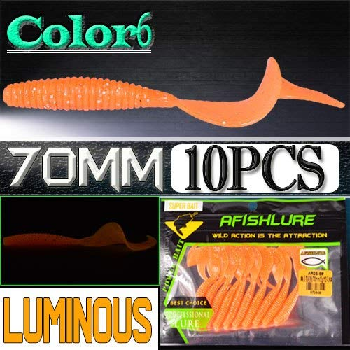 10 Pcs/lot Fishing l Soft Lure 70mm 2g Curly Artificial grub Panfish Crank Worm Worm Swim Worm Pesca : Color6