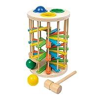 Klopfkugelturm Groß aus Holz, lustiges Klopfspiel mit drei Kugeln und einem Hammer, ein schönes Motorik Spielzeug für die Kleinsten