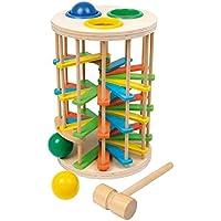 Klopfkugelturm Groß aus Holz, lustiges Klopfspiel mit drei Kugeln und einem Hammer, ein schönes Motorikspielzeug ab 18 Monate