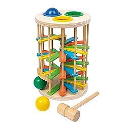 """small foot 6569 Klopfkugelturm """"Groß"""" aus Holz, Klopfspiel mit drei Kugeln und einem Hammer, ab 18 Monate"""