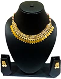 KAAYRA Traditional Diamond Temple Coin Necklace Set / Jewellery Set With Earrings For Women