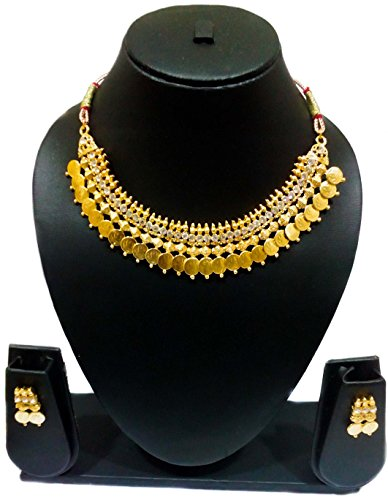 KAAYRA Traditional Diamond Temple coin Necklace Set / Jewellery Set with Earrings for Women  available at amazon for Rs.299