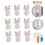 9 Stück Katze selbstklebende Wandhaken, Kunststoff Handtuchhaken Schlüssel Haken Gadget Haken Küche Badezimmer WC (Höchstgewicht 2 kg)