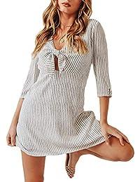 bbb005d760 Vestidos De Verano Mujer Cortos Moda Vintage Flecos Mini Vestido Anchas Mangas  3 4 Casual V-Cuello Elegantes A-Línea Casuales Mujeres…