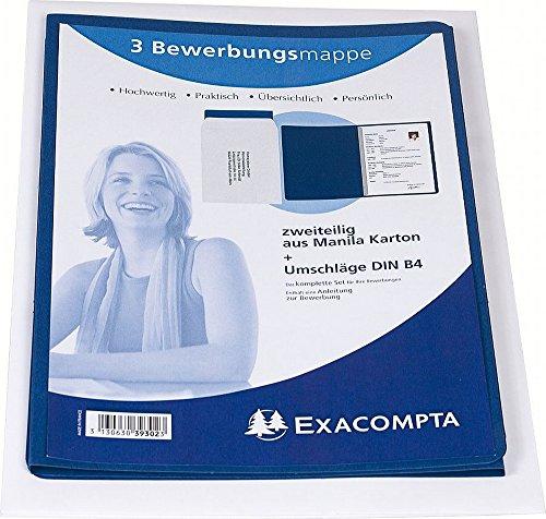 Exacompta 39302B Packung (mit 3 Bewerbungsmappen, 2-teilig, mit 1 Klemmschiene, Kapazität 30 Blatt aus Manila-Leinen-Karton, 400 g, DIN A4, 21 x 29,7 cm) blau