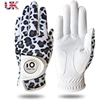 Jeantet Sport Golf Gloves Ladies Women Left Hand Right With Ball Marker Printed Value Pack, Glove Leather All Weather Grip Durable Comfortable Fit Size S M L XL