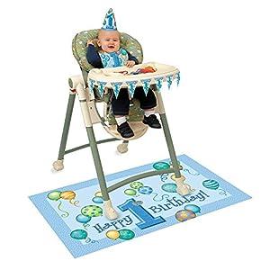 Dekorations-Set für Hochstuhl mit Luftballons zum 1. Geburtstag, Blau