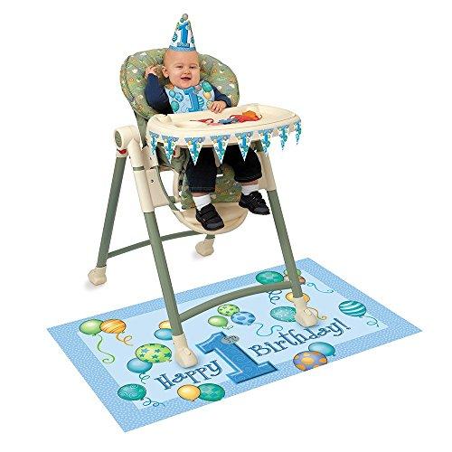 Banner 1. Hochstuhl Geburtstag (Dekorations-Set für Hochstuhl mit Luftballons zum 1. Geburtstag, Blau)