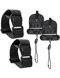 4 Packs Añadir Un cinturón de equipaje y correas, AFUNTA Adjustable Travel Suitcase Belt Attachment Accesorios para conectar bolsas juntos – Negro