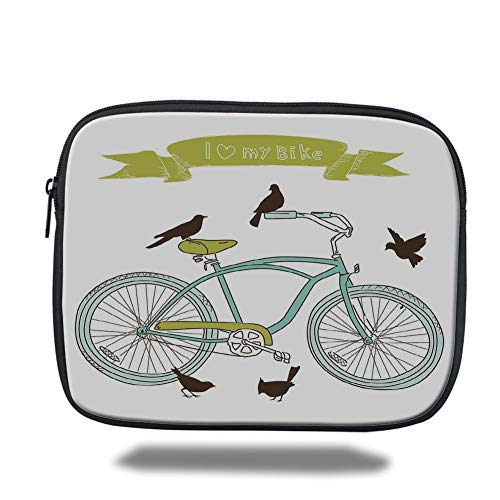 Tablet Bag for Ipad air 2/3/4/mini 9.7 inch,Bicycle,I Love My Bike Concept with Birds on The Seat Cruisers Basic Vehicle Simplistic Art,Green Blue,Bag -