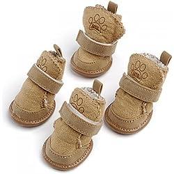 Dcolor Lohfarben Warm Hunde Schuhe Hundeschuhe Dog Boots Geeignet fuer Pfoten(ca.): 4.44 x 3.81 cm (L x B)