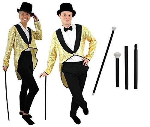 (Frack/Tailcoat Gold =Pailletten =6 GRÖSSEN=STEPTANZ KOSTÜM Verkleidung=ERHALTBAR in 3 Verschiedenen VARIATIONEN=Frack+Hut+TANZSTOCK-XXL)