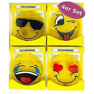 4er Set Taschenwärmer Emoji – Wichtelgeschenk – Handwärmer – Taschenheizkissen