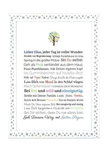Taufgeschenk Junge | Personalisiertes Bild als Geschenk zur Taufe für Kinder und Babies in DIN A4 - Ideal als Gastgeschenk von Taufpaten - 2