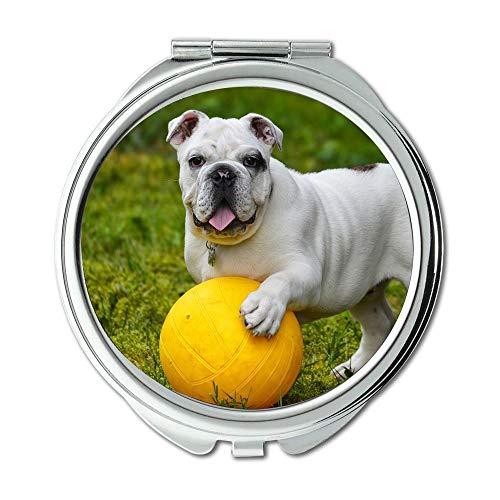 Yanteng Spiegel, Reise-Spiegel, Bulldogge-Hundeball der englischen Bulldogge, Taschen-Spiegel, beweglicher Spiegel